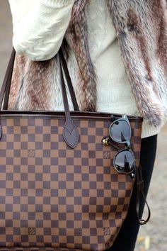 Fall 2013 Style: Faux fur vest & louis vuitton neverfull tote bag