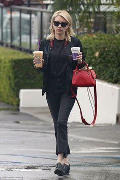 Drinks for two? The former Nickelodeon actress carried two drinks out of the coffee shop. Was she bringing something home for her maybe-fiance Evan?