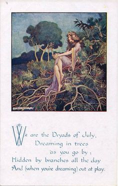 Helen Jacobs. July. Published by Faulkner from series 1764, a twelve card set featuring fairies and other wee magical creatures and their actions during the months of the year.