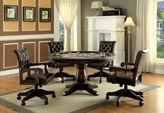 CM-GM347T 5 pc kalia brown finish wood contemporary style round poker game table set Contemporary Style, Game Room Furniture, Dining Room Furniture, Furniture Stores, Office Furniture, Adjustable Office Chair, Table Games, Room Set, Furniture