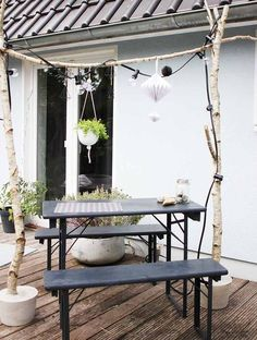 Birkenstamm Make your own decoration For inside & outside Patio Swing Set, Outdoor Patio Swing, Patio Diy, Budget Patio, Parasols, Patio Umbrellas, Patio Side Table, Patio Chairs, Table Lanterns