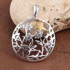 Platinum and Yellow Gold Overlay Sterling Silver Bird Pendant, Silver wt 6.50 Gms. | TJC