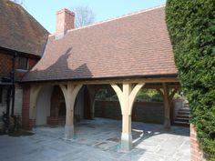 Border Oak - An oak framed entertaining space. Timber Frame Garage, Wooden Carports, Porch Canopy, Border Oak, Cottage Plan, Garden Cottage, Oak Framed Buildings, Oak Frame House, Cedar Homes