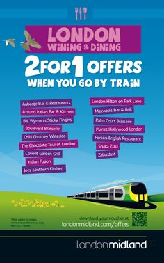 2for1 offers in London when you go by train.