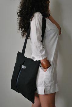 Stylish backpack Messenger bag Black by misirlouHandmade on Etsy