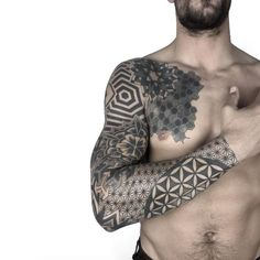 awesome Tattoo Trends - Geometric Sleeve by Ana Godoy . Tattoos Masculinas, Best Sleeve Tattoos, Trendy Tattoos, Body Art Tattoos, Cool Tattoos, Fake Tattoos, Tatoos, Geometric Sleeve Tattoo, Geometric Tattoos Men