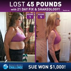 Sue Schmidt, age 52, lost 45 lbs in five rounds of 21 Day Fix. She entered her results into The Beachbody Challenge® and won $1,000! Tell us about your lif