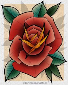 Rose. Happy holidays everyone! . . . . #tattoo #tattoos #tattooart #tattooartist #tattoostyle #tattoodo #tattooist #tattooideas… Traditional Tattoo Flowers, Neo Traditional Tattoo, Rosa Old School, Tattoo School, Rosa Tattoo, Rose Flower Tattoos, Flower Sketches, Oldschool, Plant Art