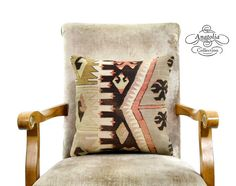 Vintage Nomad Decor Turkish Kilim Rug Pillow by AnatoliaCollection