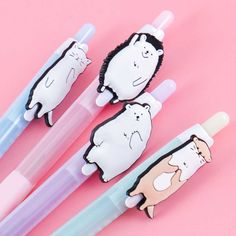 Standing Animal Pastel Mechanical Pencil Japanese Pen, Happy Fruit, Pen Toppers, 2b Pencil, Moon Bear, Kawaii Stationery, Gumball Machine, Kawaii Shop, Welcome Gifts