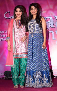 Juhi Chawla wearing Anita Dongre.....Madhuri in Pankaj and Nidhi