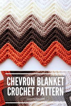 Free Chevron Crochet Blanket Pattern by Easy Crochet - Easy to make crochet chevron pattern! via @easycrochetcom Chevron Crochet Blanket Pattern, Crochet Ripple Afghan, Chevron Blanket, Afghan Crochet Patterns, Baby Blanket Crochet, Crochet Blankets, Baby Afghans, Crochet Motif, Knit Patterns