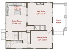 Craftsman Style House Plan - 3 Beds 2.50 Baths 1584 Sq/Ft Plan #461-6 Floor Plan - Main Floor Plan - Houseplans.com