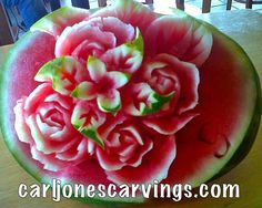 Carved Fruit, watermelons by food artist Carl Jones.      How would this look on your Fruit Display?