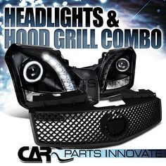 2003-2007 CADILLAC CTS BLACK HALO SMD LED PROJECTOR HEADLIGHTS+MESH HOOD GRILLE
