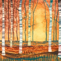 Buy 'Silver Birch, Autumn Gold', an original etching by Rebecca Vincent at The Biscuit Factory. Landscape Art Quilts, Abstract Landscape, Nancy Zieman, Tim Holtz, Tree Quilt, Tree Art, Tree Collage, Watercolor Trees, Encaustic Art