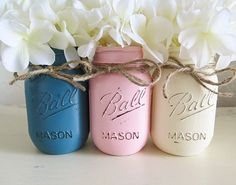 Distressed Mason Jars for Weddings, Baby Showers, Events and Home Decor, Rustic, Country, Cottage Chic, Vintage, Antique, Centerpiece