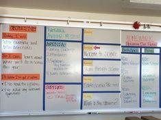 Classroom display with objective, agenda, week overview, a Classroom Agenda Board, Classroom Whiteboard Organization, Classroom Objectives, Social Studies Classroom, Ela Classroom, History Classroom, Middle School Classroom, Middle School Science, Science Classroom