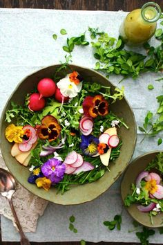 Wildflower & Arugula Salad with Orange Blossom Vinaigrette & Farmer's Cheese Food photography, food styling Easter Side Dishes, Farmers Cheese, Cheese Food, Cheese Salad, Orange Salad, Flower Food, Arugula Salad, Baby Arugula, Edible Flowers