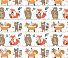 Crib Sheet Tribal Woodland Creatures. Fitted Crib Sheet. Baby Bedding. Crib Bedding. Minky Crib Sheet. Crib Sheets. Tribal Crib Sheet.