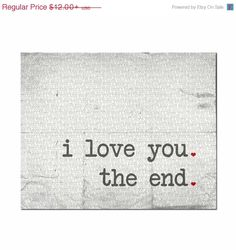 ON SALE Love Print Typography Print I Love by pumpkinandbutterfly, $8.40