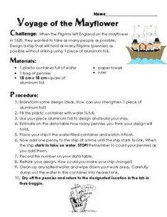 Build the Mayflower Thanksgiving Science Density Inquiry STEM Activity-DIGITAL