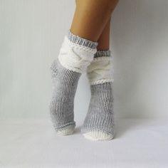 Chaussettes gris. Chaussettes femme. Tricoter des par mymomsshop1
