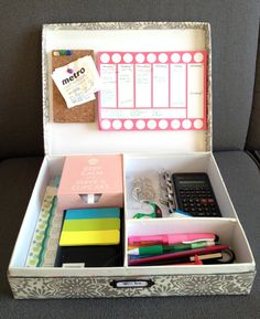 Office / study in a box! Great idea to pull this out when you want to start studying, minimizes time wasted trying to get ready and distractions along the way. Just pull this out and start studying - no excuses!