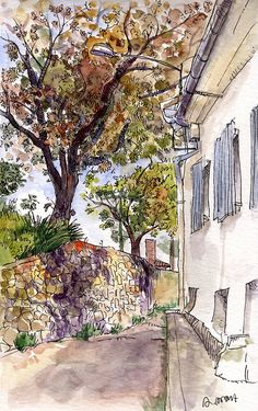 Life sketch done in open air. The tree is a cherry or a plum, I'm not sure. Watercolour and ink marker.