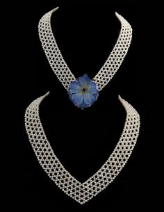 """unique woven pearl """"V"""" necklace that you can add pin (when you want), by Marina J"""