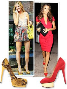 Blake Lively is wearing Pour La Victoire pumps  and Eva Longoria is wearing  Charlotte Olympia.
