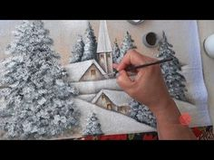 Nany Helena shared a video Painting Snow, Winter Painting, Fabric Painting, Painting & Drawing, Tole Decorative Paintings, Tole Painting Patterns, Oil Painting Lessons, Painting Videos, Pintura Country