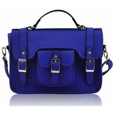 FC Select Vegan Bags Vegan Bold Buckle Satchel Bag ($54) ❤ liked on Polyvore featuring bags, handbags, purses, bolsas, vegan purses, synthetic leather handbag, blue handbags, structured handbag e structured satchel handbag
