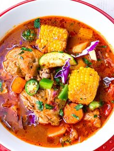 Caldo de Pollo Mexican Chicken Soup is a quick and easy Mexican inspired chicken soup full of potatoes corn fire-roasted tomatoes zucchini shredded cabbage peppers and onions My version would make any Mexican Abuela proud Okra Recipes, Mexican Food Recipes, Ethnic Recipes, Seafood Recipes, Seafood Meals, Drink Recipes, Chicken Recipes, Healthy Recipes, Chicken Caldo