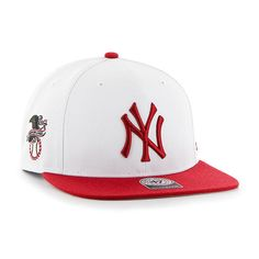 8b1791c0dc4a1 New York Yankees 47 Brand White Red Two Tone Captain Adjustable Hat