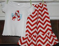 Custom 2 Pc Ruffle Pants TShirt Set with Red Chevron Fabric...You Design. $43.00, via Etsy.