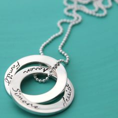 Russian Rings Personalised Hand Stamped Jewellery by MrsFickle Russian Ring, Writing Pictures, Washer Necklace, Pendant Necklace, Hand Stamped Jewelry, Jewelry Necklaces, Jewellery, Personalized Jewelry, Pendants
