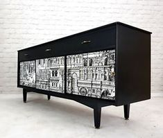 Stunning Professionally Upcycled Vintage Sideboard TV Unit Cityscape Decoupage  | eBay
