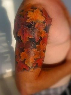 """Want these leaves tattooed on my foot w/ quote: """"I took the one less traveled by."""""""
