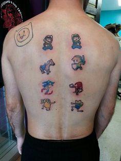 Pixel videogame tattoo