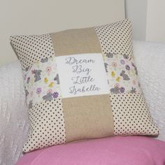 Little Girl Gifts, Little Girls, Baby Pillows, Throw Pillows, Big Cushions, Dream Big, New Baby Products, Personalized Gifts, Quilts