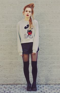 Loose sweaters with tights and knee socks.
