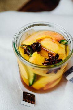 Chai Pickled Peaches | www.scalingbackblog.com