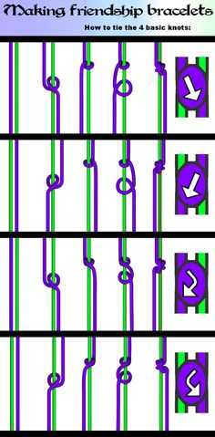 The 4 basic knots by nimuae on DeviantArt – Macrame Bracelets Friendship Bracelet Knots, Friendship Bracelets Tutorial, Diy Friendship Bracelets Patterns, Bracelet Tutorial, Friendship Bracelets With Names, Macrame Tutorial, Diy Bracelets With Names, Bracelet Crafts, Loom Bracelets