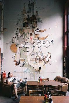 graffiti style wall art in a coffee shop