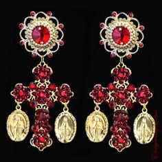 RUBY - RED Coins Earrings