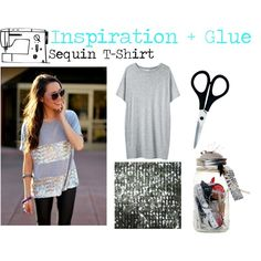 """""""Inspiration & Glue: Sequin Tee"""" by bearybria on Polyvore"""