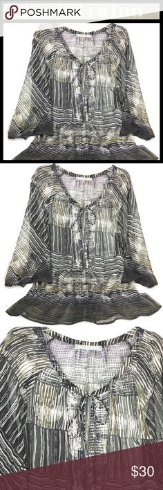"""Women Top Boho Daniel Rainn Stitch Fix Semi Sheer Womens Daniel Rainn (Stitch Fix) Top / Blouse / Tunic Peasant / Boho / Chic Size Medium (NO SIZE TAG) : 21"""" Wide (underarm to underarm); 25-1/2"""" (neckline to bottom hem) 3/4 Sleeve Semi Sheer Black - White - Olive Green Sequins Keyhole neckline with tie straps Striped / stripes Stretch waist Polyester Great condition. No holes, stains or rips  Thanks for stopping by. Please check out our other items to BUNDLE and SAVE! Daniel Rainn Tops…"""