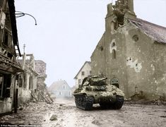 An Allied M10 tank destroyer driving through the ruins ofRohrwiller, in the far west of France, in February 1945. Three months after this photograph was taken, the Nazis surrendered and the world began to recover from the cataclysm of the Second World War