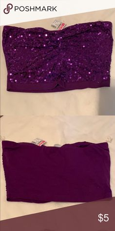 6590130c224352 New purple crop tube top Brand new purple tube top with sequins. Has built  in
